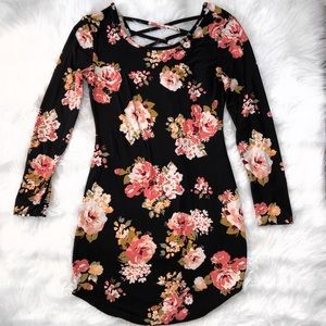 Black floral body con dress